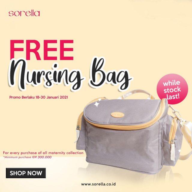 GET FREE NURSING BAG!  Belanja minimum Rp300.000 untuk pembelian maternity collection di website sorella.co.id kamu bisa dapatkan Nursing Bag GRATIS lho Ladies!  Yuk, order sekarang juga!  Promo hanye berlaku sampai 30 Januari 2021 ya!  #SorellaIndonesia #TrueInnerBeauty